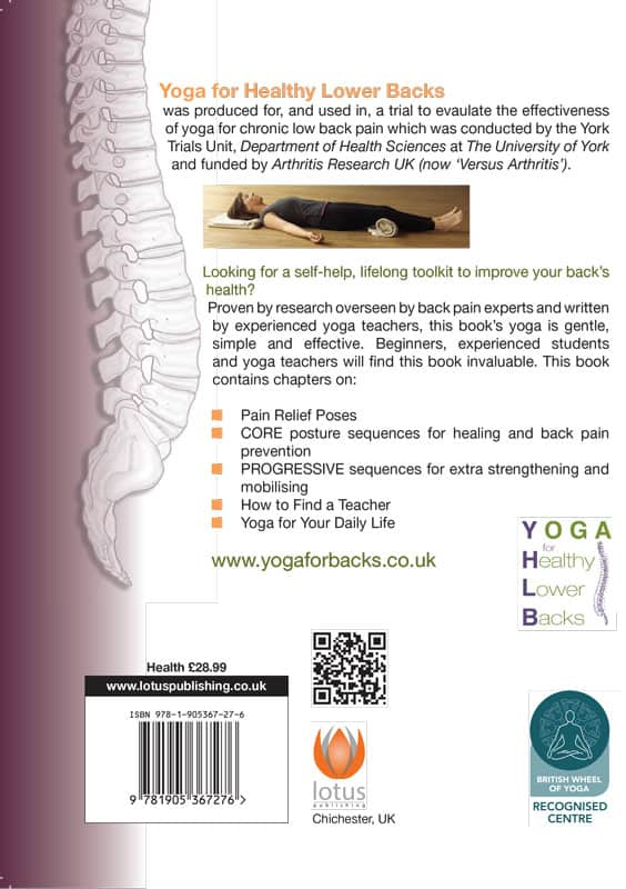 yoga for back pain book back cover